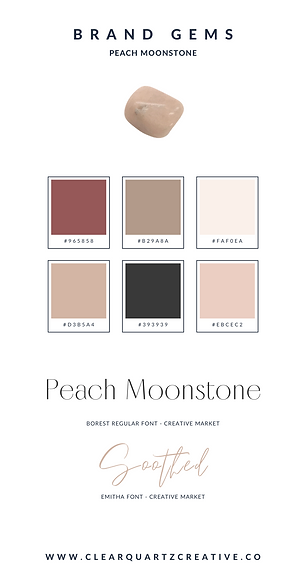 Peach Moonstone Brand Gem | Clear Quartz
