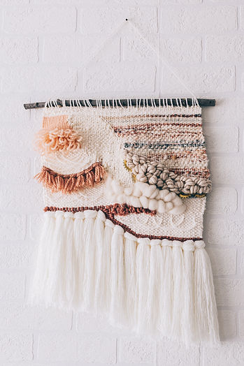 Custom Puffy Textured White and Pink Wall Hanging - made by Rebecca Riel of Riel Finishings