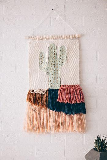 Cactus Woven Art Piece by Rebecca Riel - Riel Finishings