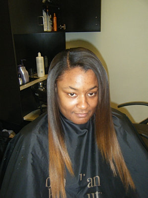 Bella nova hair and makeup studio sew in weaves extensions full sew in weave with natural part and custom color ombre pmusecretfo Image collections