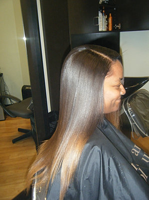 Bella nova hair and makeup studio sew in weaves extensions full sew in weave with natural part and custom color ombre pmusecretfo Images