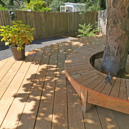 curved deck with tree bench