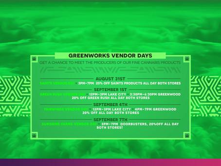 Greenworks Vendor Days Aug-Sept