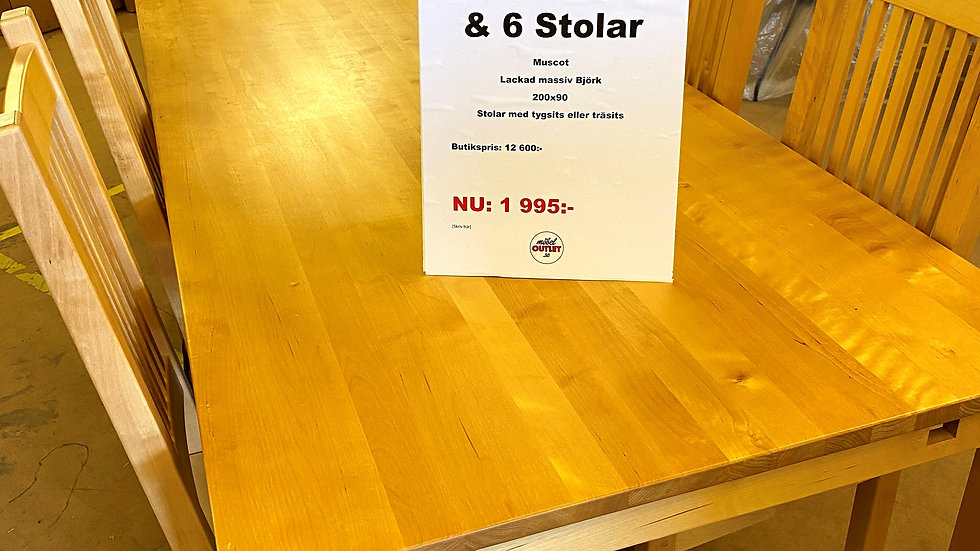 Kampanj matbord & 6 stolar
