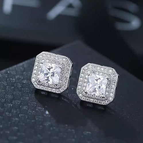 Princess square cut earrings