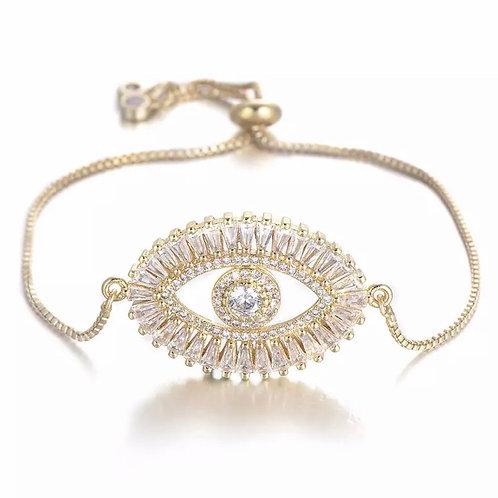 Sparkling Evil Eye bracelet -gold