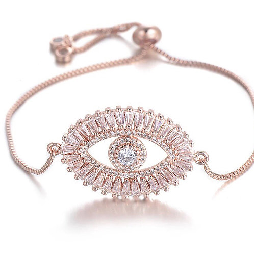 Sparkling Evil Eye bracelet -rosegold