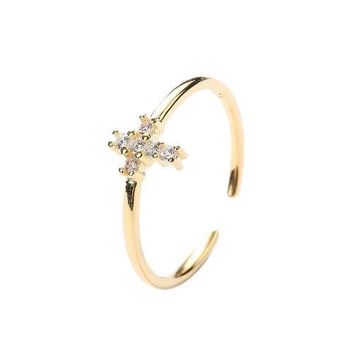 Gold adjustable cross ring