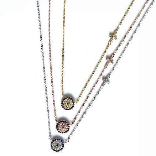 Gracie cross and evil eye necklace