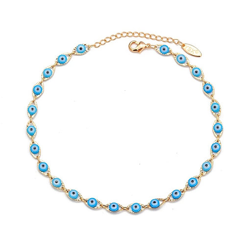 Blue & gold anklet