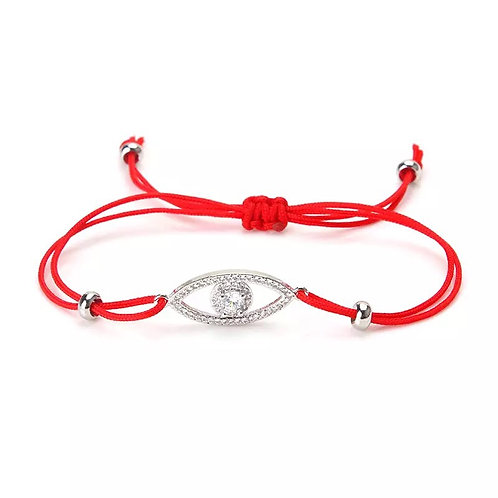 Sparkling red string evil eye bracelet
