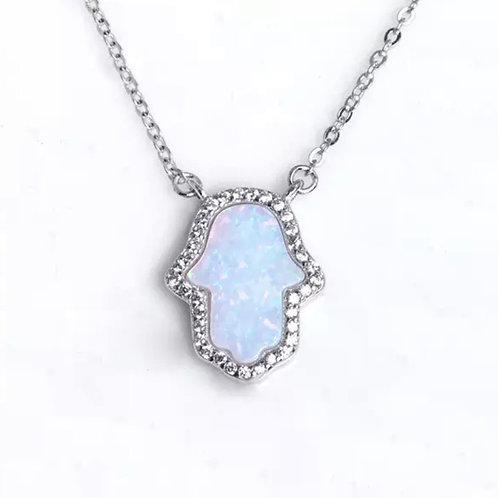 White Opal Stone Hamsa Hand necklace