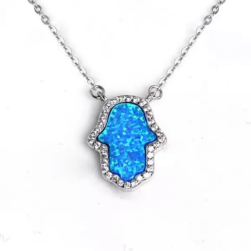 Blue Opal stone hands necklace