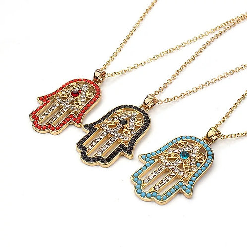 Hamsa necklace Red