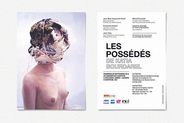 """Design graphique, graphisme, Identité visuelle, Thomas Soulié, Exposition """"Les Possédés"""" de Katia Bourdarel - Les Rencontres d'Art Contemporain, Cahors - Carton d'invitation"""