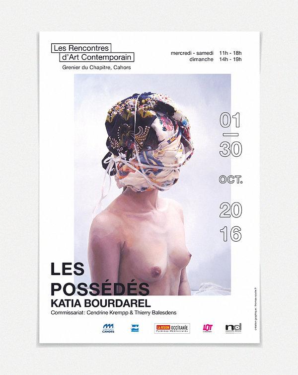 """Design graphique, graphisme, Identité visuelle, Thomas Soulié, Exposition """"Les Possédés"""" de Katia Bourdarel - Les Rencontres d'Art Contemporain, Cahors - Affiche"""