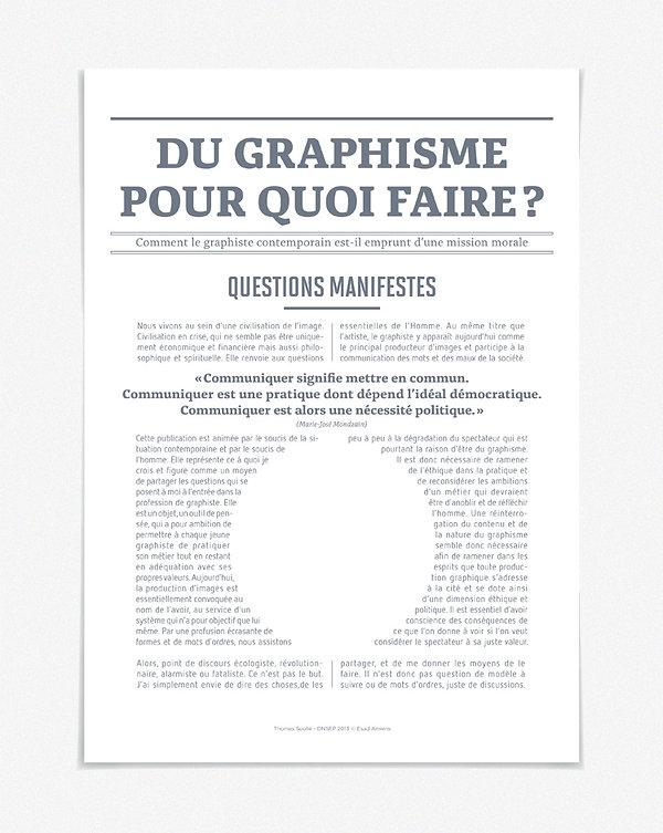 Design graphique, graphisme, Identité visuelle, Thomas Soulié, mémoire DNSEP, du graphisme pour quoi faire, affichette présentation