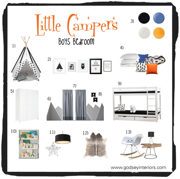 Boys bedroom design board, little campers, monochrome room