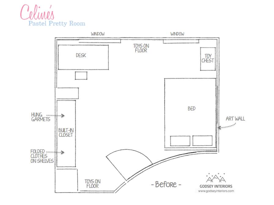 Celine's Bedroom - Before floor plan