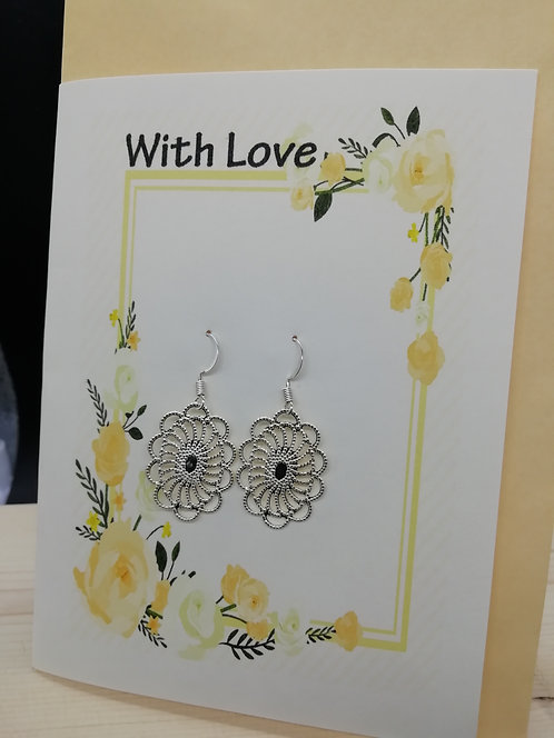 Card - Orange Roses Silver Filigree Earrings