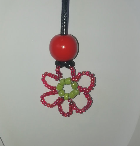 Necklace - Red Beaded Flower
