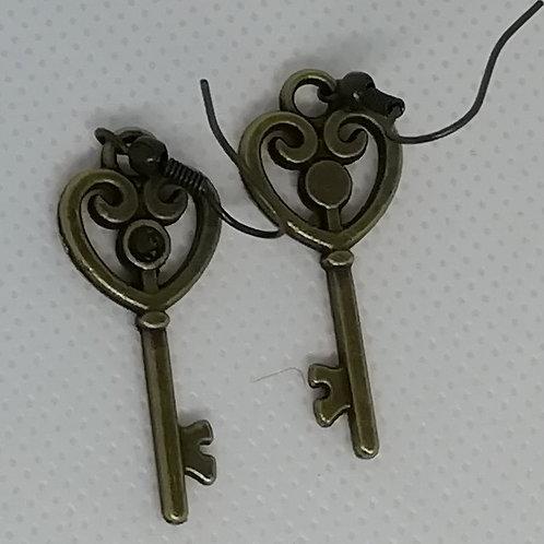 Earrings Antique Brass Key 091