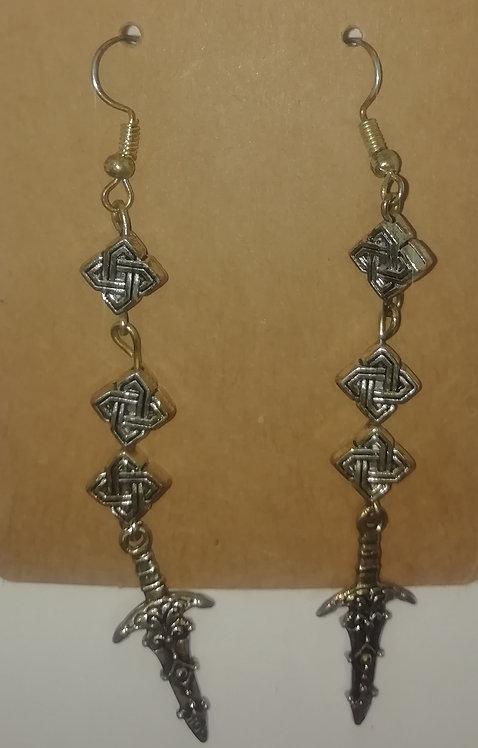 Earrings - Long Daggers and Celtic Beadsragonflies