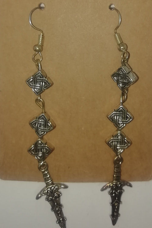 Earrings - Long Daggers and Celtic Beadsragonflies