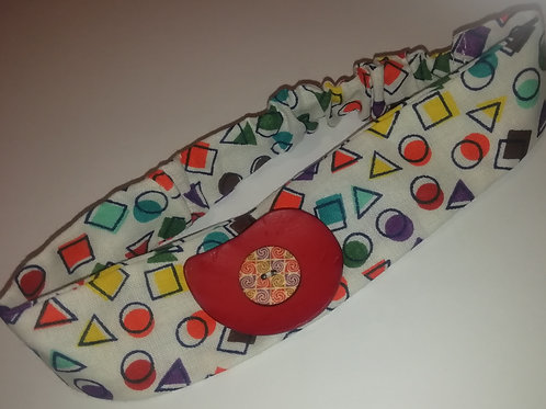 Headband - Child/Baby Cotton Shapes Red Button