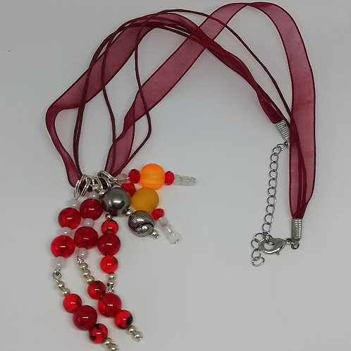 Necklace - Red White Silver Tassel Ribbon
