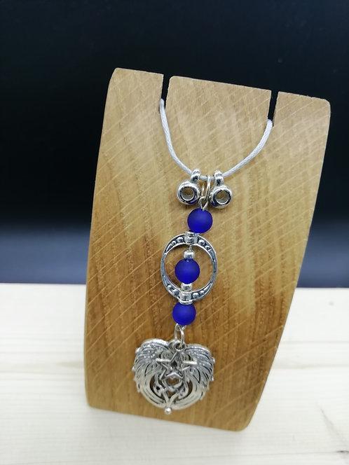 Necklace - Celtic Winged, Blue Oval Grey