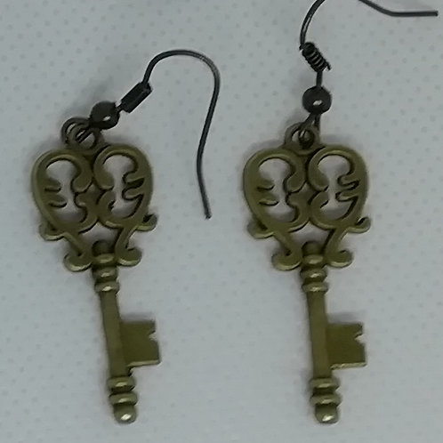 Earrings Antique Brass Key 090