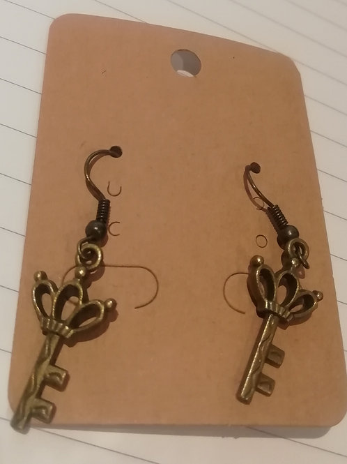 Earrings Antique Brass Key 094