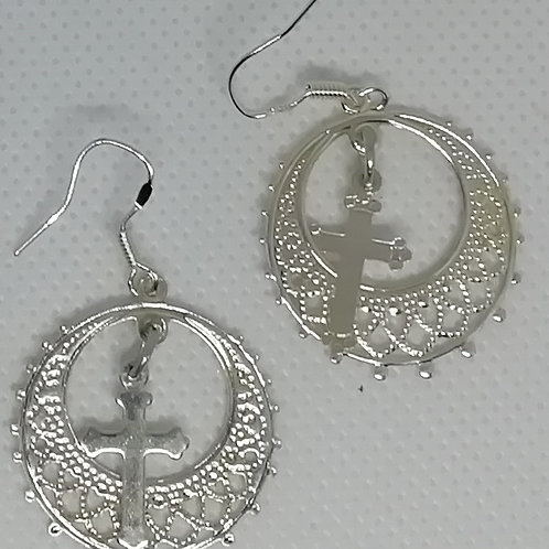 Earrings - Ring and Cross