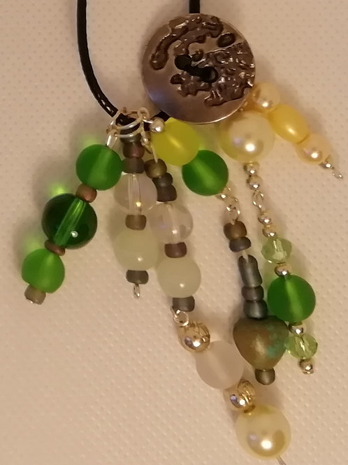 Necklace - Green Silver and Yellow Beaded