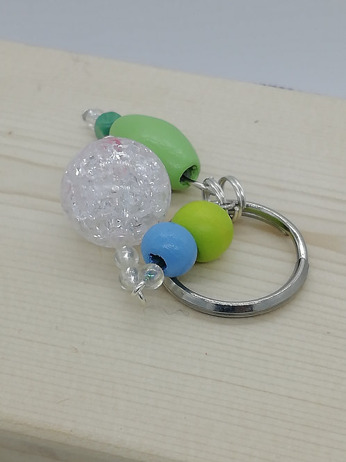 Keyring - Green Blue Clear Beads