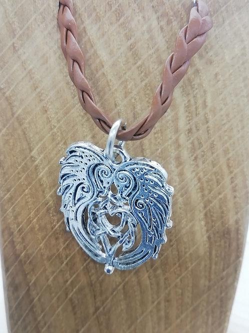 Necklace - Celtic Creatures Brown Plaited