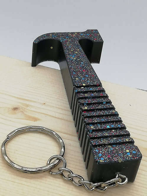 Keyring - Large Hammer Resin Black Glitter