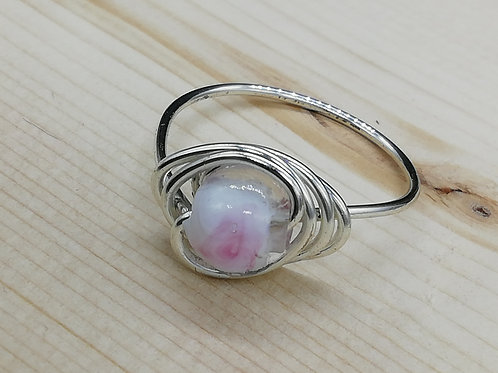 Ring - Viking Silver Bead Pink Large