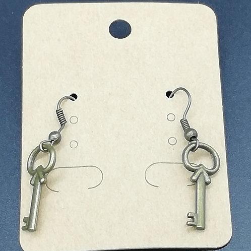 Earrings - Antique Brass Key 138