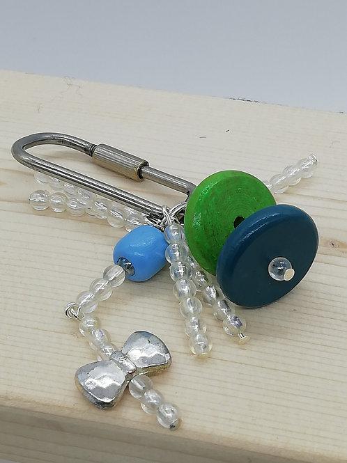 Keyring - Bizarre Green Blue Clear Bow