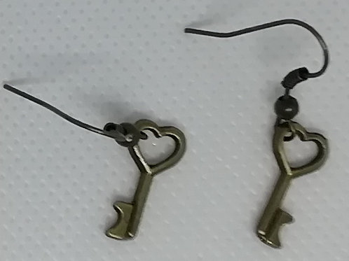 Earrings Antique Brass Key 083