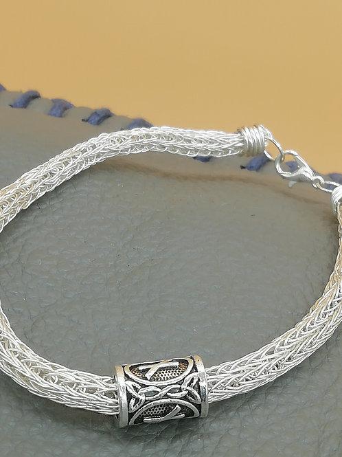 Viking Knit Wire Bracelet Single Bead