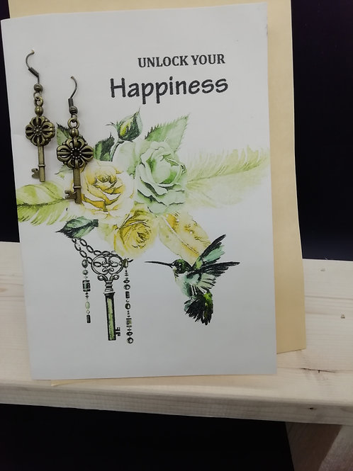 Card - Unlock Your Happiness Roses Keys