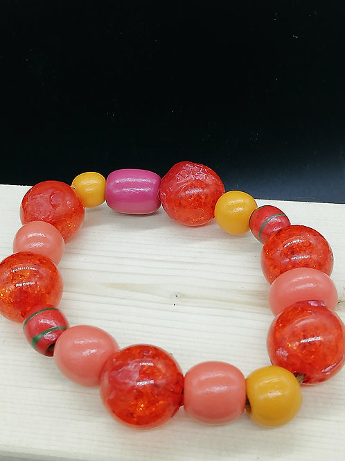 Bracelet - Wooden Beads Red Yellow