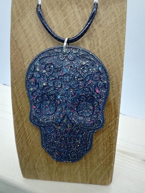Necklace - Sugar Skull Black Resin