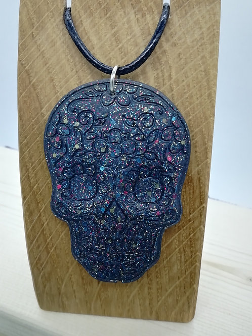 Necklace - Sugar Skull Black Resin