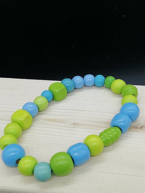 Bracelet - Wooden Beads Green Blue