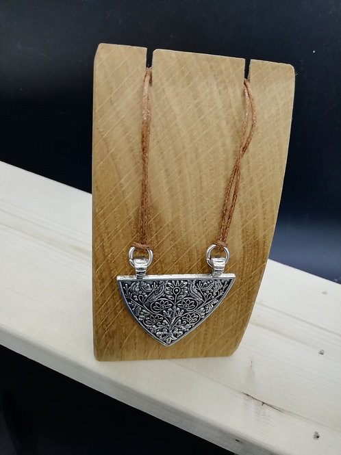 Necklace - Silver Triangle Shield on Brown