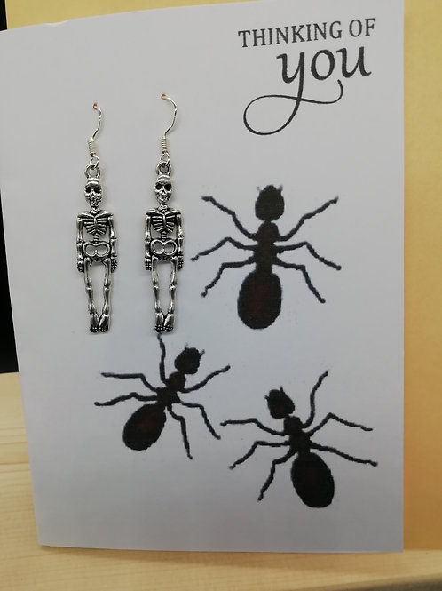 Card - Thinking of You Ants and Skeleton Earrings
